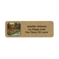 Deer and Stream Waterfall Tan Label