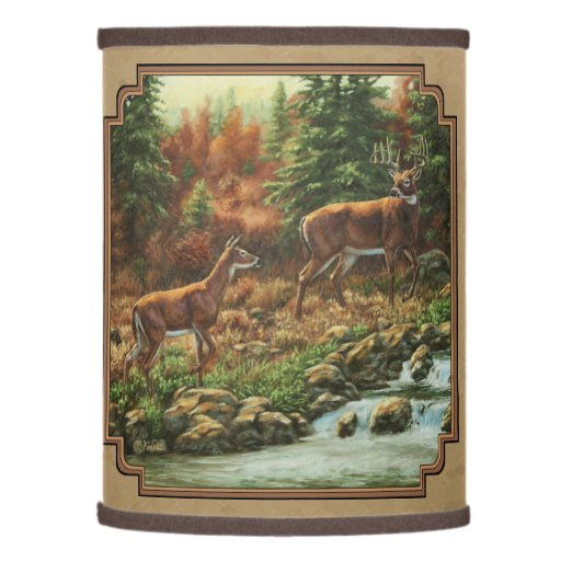 Deer and stream waterfall tan lamp shade zazzle for Waterfall lamp shade