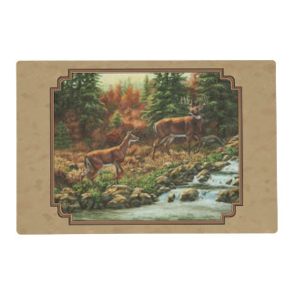 Deer and Stream Waterfall Tan Placemat