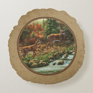 Deer and Stream Waterfall Tan Round Pillow