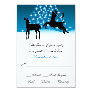 Deer and Tree of Lights Snowy Night Wedding RSVP Card