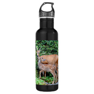 Deer and Twin Fawns Animal Family 24oz Water Bottle