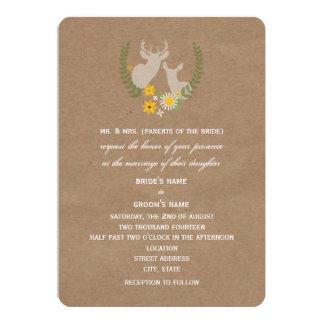 Deer And Wildflowers Brown Paper Inspired Wedding Custom Invitations