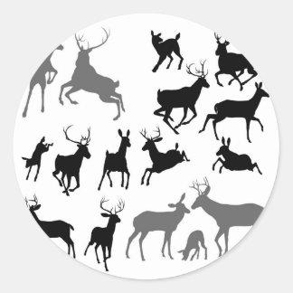 Deer animal silhouettes round sticker