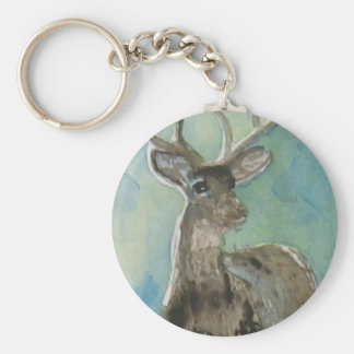 Deer animal via aceo watercolor wildlife art basic round button keychain