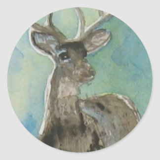 Deer animal via aceo watercolor wildlife art classic round sticker