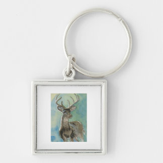 Deer animal via aceo watercolor wildlife art Silver-Colored square keychain