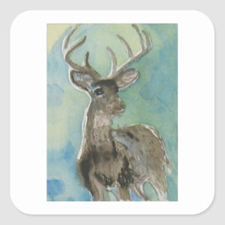 Deer animal via aceo watercolor wildlife art square sticker