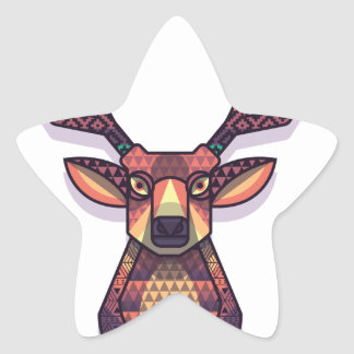 deer animal with horns star sticker
