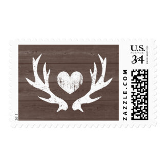 Deer antler barn wood grain hunter wedding stamps