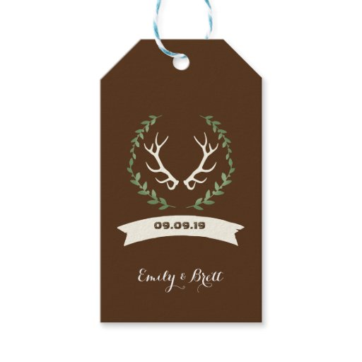 Deer Antler Buck Wedding Gift Tags
