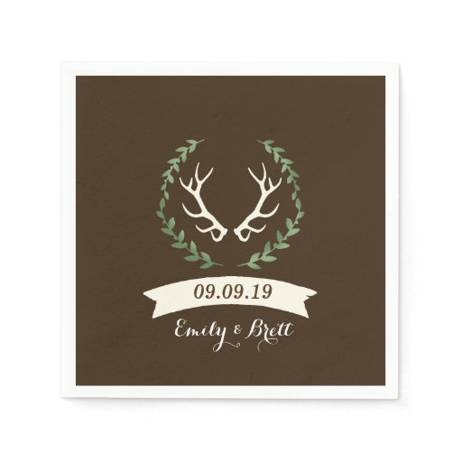 Deer Antler Buck Wedding / Shower / Bridal Napkins