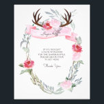 "Deer Antler Diaper Raffle Sign<br><div class=""desc"">VG Invites deer antler baby shower diaper raffle sign features lush greenery and pretty pink roses that frames your party game details. A rustic yet sophisticated choice for spring, summer, fall and winter baby showers. Designed by Victoria this diaper raffle sign pairs perfectly with VG Invites Deer Antler Girl Baby...</div>"