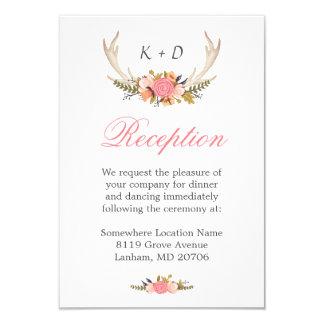 Deer Antler Floral Wedding Reception Direction Card