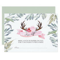 Deer Antler Girl Baby Shower Diaper Raffle Card