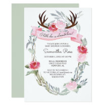 DEER ANTLER Girl Baby Shower Invite