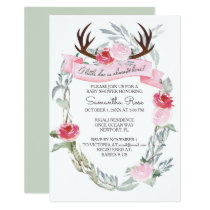 DEER ANTLER Girl Baby Shower Invite, Pink Card