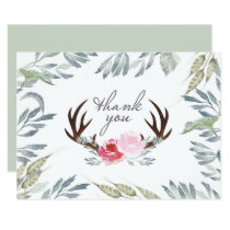 Deer Antler Girl Baby Shower Thank You Card