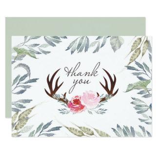 Deer Antler Girl Baby Shower Thank You Card