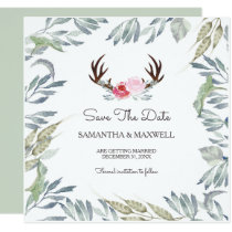 DEER ANTLER & Greenery Save The Date - Square Card