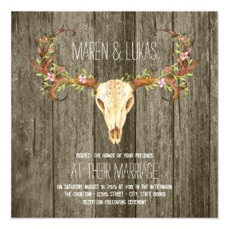 Deer Antler Rustic Wood Southwestern Wedding Card