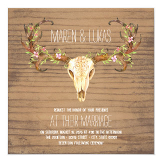 Deer Antler Skull Southwestern Wedding Card