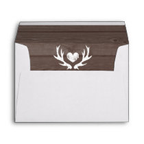 Deer antler wedding envelopes and wood grain liner