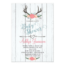 Deer Antler white wood Baby Shower Invitation