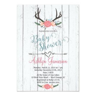 Deer Antler white wood Baby Shower Invitation