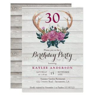 Deer Antler white wood Birthday Party invitation