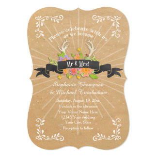 Deer Antler Wildflower Starburst Rustic Wedding Card
