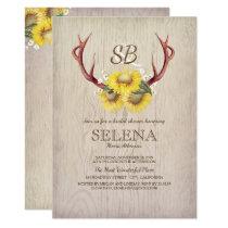 Deer Antlers and Sunflower Rustic Bridal Shower Card