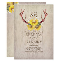 Deer Antlers and Sunflowers Floral Rustic Wedding Card