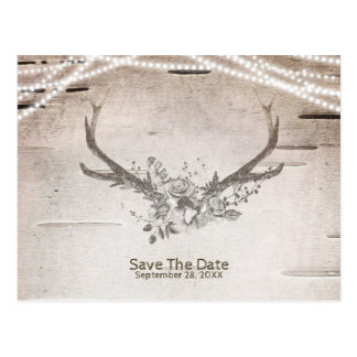 Deer Antlers & Birch Vintage Wedding Save the Date Postcard