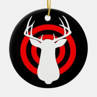 Deer Antlers Bullseye Ceramic Ornament