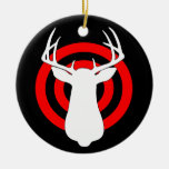 Deer Antlers Bullseye Double-Sided Ceramic Round Christmas Ornament