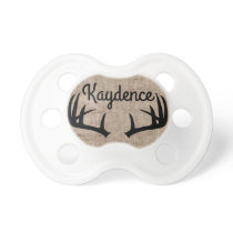 Deer Antlers & Burlap | Custom Name Pacifier