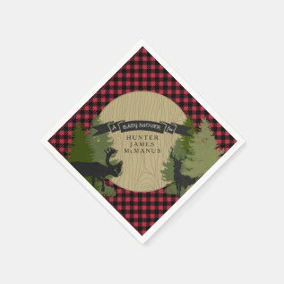 Deer Antlers Lumberjack Plaid Baby Boy Shower Napkin at Zazzle