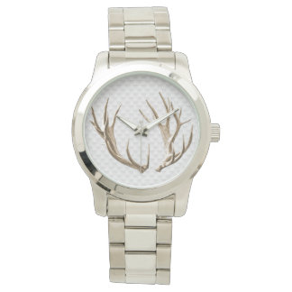 Deer Antlers on Gray Background Man's Watch