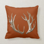 Deer Antlers Orange Animal Nature Throw Pillow
