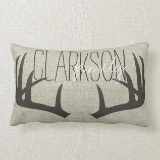 Deer Antlers Personalized Reversible Lumbar Pillow at Zazzle