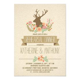 Deer antlers romantic rustic rehearsal dinner card