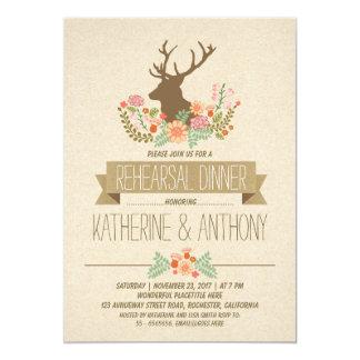 """Deer antlers romantic rustic rehearsal dinner 5"""" x 7"""" invitation card"""