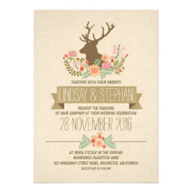 Deer antlers romantic rustic wedding invitations announcements