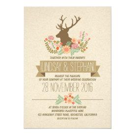 Deer antlers romantic rustic wedding invitations 5