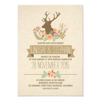 deer antlers romantic rustic wedding invitations - Deer Wedding Invitations