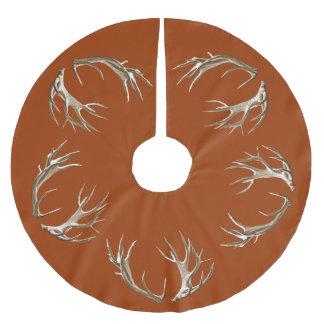 Deer Antlers Rust Orange Christmas Tree Skirt