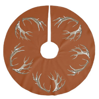 Deer Antlers Rust Orange Christmas Tree Skirt