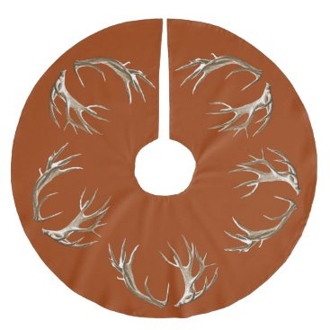 Christmas Themed Deer Antlers Rust Orange Christmas Tree Skirt