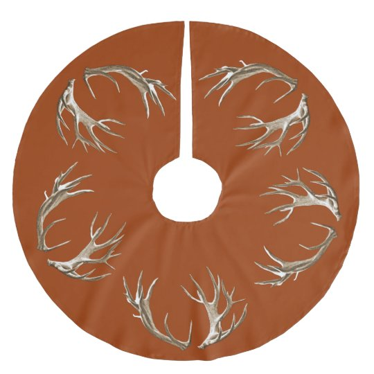 Christmas Tree Made Of Deer Antlers: Deer Antlers Rust Orange Christmas Tree Skirt